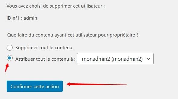 Attribuer tout le contenu de l'ancien admin WordPress au nouvel admin