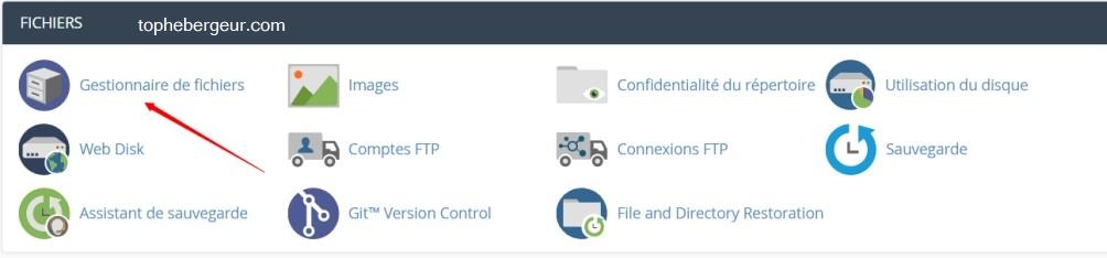 Cliquez sur Gestionnaire de fichiers dans cPanel