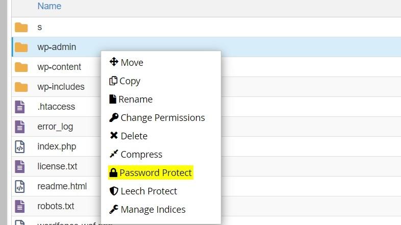 Cliquer sur sécuriser wp-admin avec un mot de passe