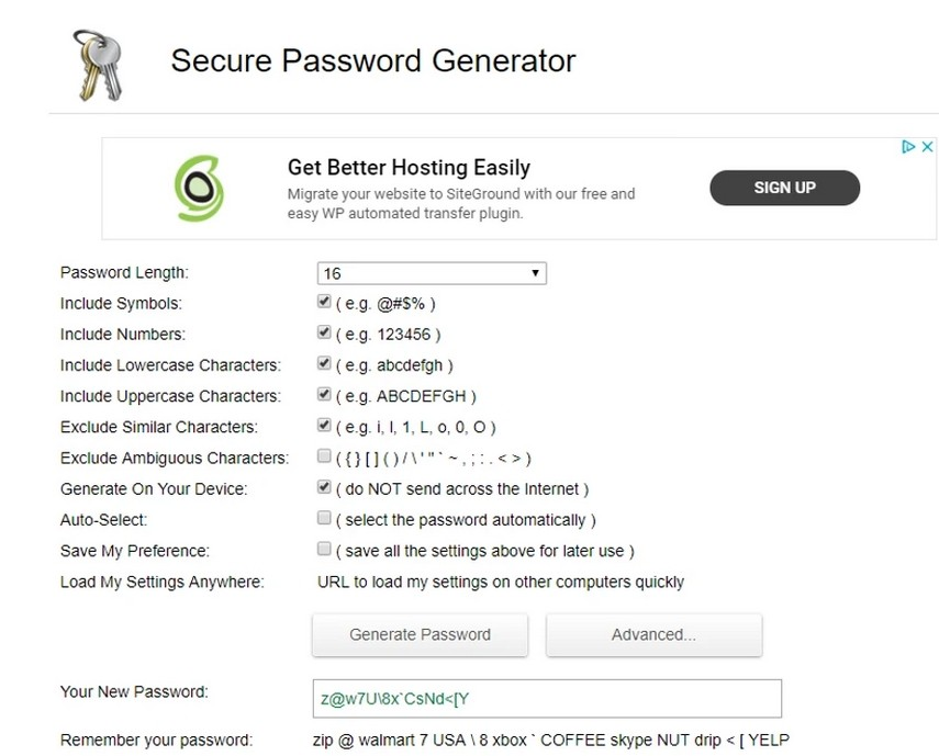 Secure Password Genrator pour création de mot de passe solide