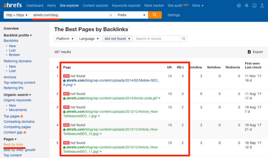 Pages brisées best by links redirigées vers 404