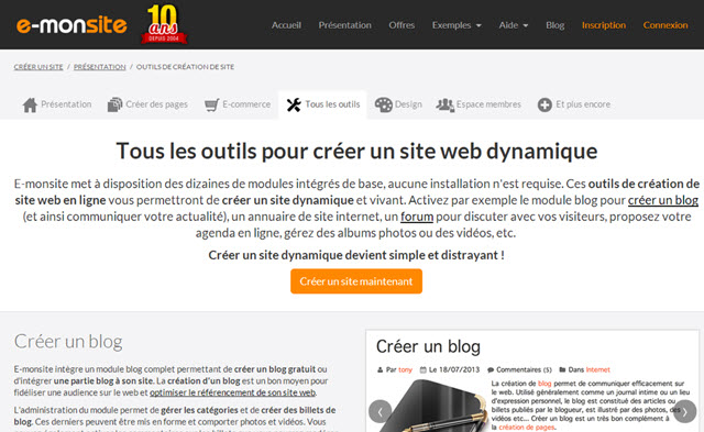 e-monsite site dynamique