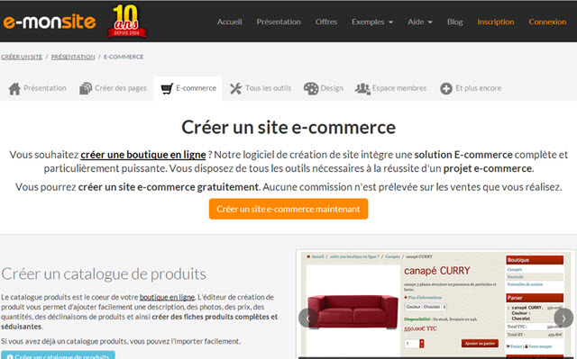 e-monsite ecommerce