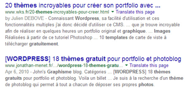 liste d'articles exposants des thèmes wordpress