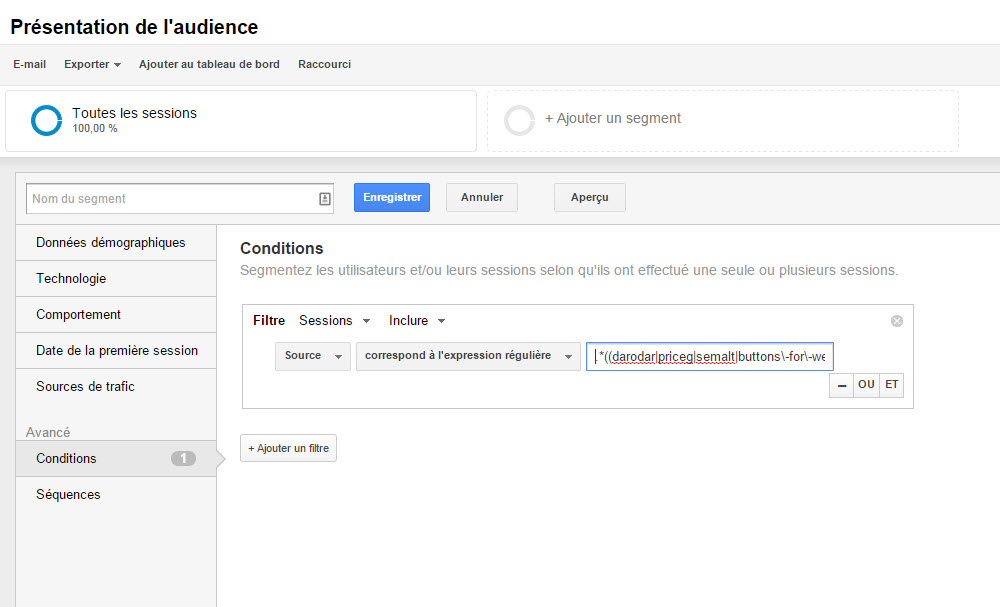 Filtre audience dans Google analytics