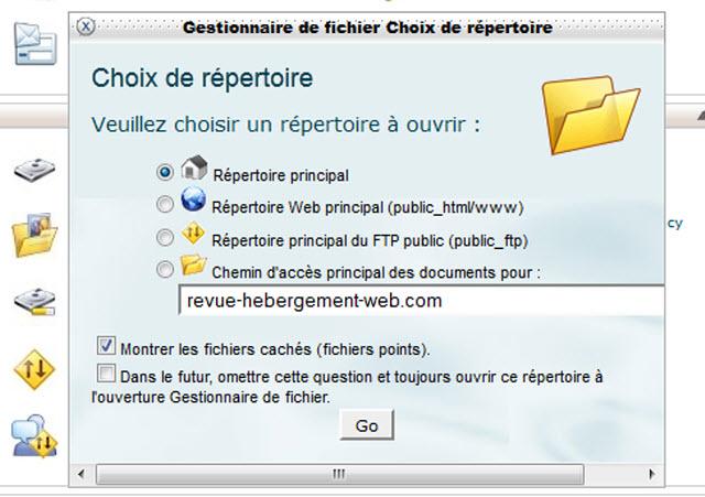 répertoire principal dans gestionnaire de fichier cpanel